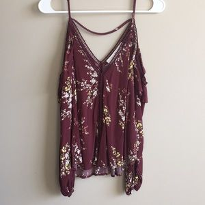 Maroon Floral Print Cold Shoulder Blouse